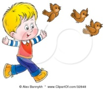 blond-boy-running-behind-three-brown-birds